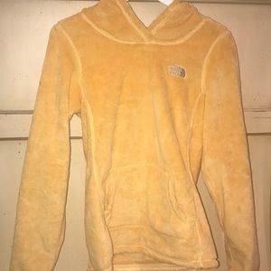 Yellow fuzzy north face hoodie 💛